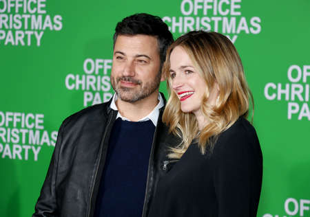 Jimmy Kimmel and Molly McNearney at the Los Angeles premiere of Office Christmas Party held at the Regency Village Theatre in Westwood, USA on December 7, 2016.
