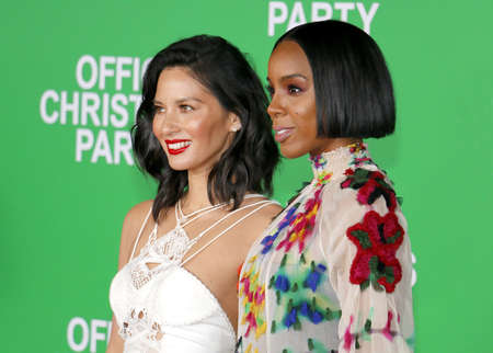 kelly: Olivia Munn and Kelly Rowland at the Los Angeles premiere of Office Christmas Party held at the Regency Village Theatre in Westwood, USA on December 7, 2016.
