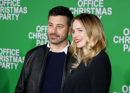 molly: Jimmy Kimmel and Molly McNearney at the Los Angeles premiere of Office Christmas Party held at the Regency Village Theatre in Westwood, USA on December 7, 2016.