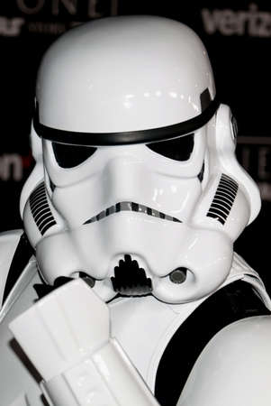stormtrooper: A Stormtrooper at the World premiere of Rogue One: A Star Wars Story held at the Pantages Theatre in Hollywood, USA on December 10, 2016. Editorial