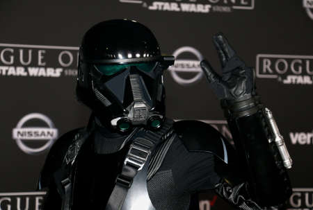 trooper: A Death Trooper at the World premiere of Rogue One: A Star Wars Story held at the Pantages Theatre in Hollywood, USA on December 10, 2016.
