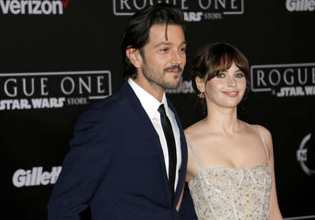jones: Felicity Jones and Diego Luna at the World premiere of Rogue One: A Star Wars Story held at the Pantages Theatre in Hollywood, USA on December 10, 2016.