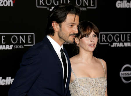 rogue: Felicity Jones and Diego Luna at the World premiere of Rogue One: A Star Wars Story held at the Pantages Theatre in Hollywood, USA on December 10, 2016.