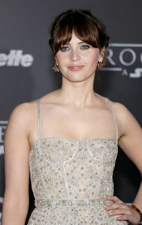 rogue: Felicity Jones at the World premiere of Rogue One: A Star Wars Story held at the Pantages Theatre in Hollywood, USA on December 10, 2016.