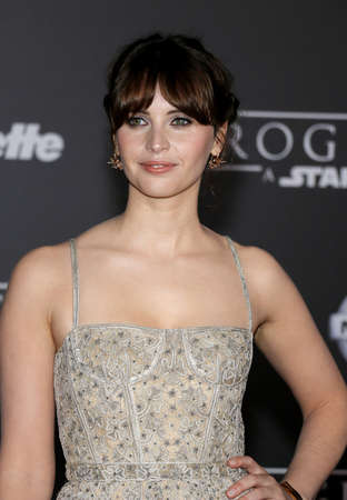jones: Felicity Jones at the World premiere of Rogue One: A Star Wars Story held at the Pantages Theatre in Hollywood, USA on December 10, 2016.