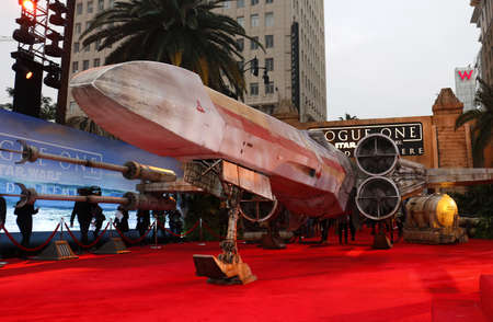 rogue: X-wing Starfighter at the World premiere of Rogue One: A Star Wars Story held at the Pantages Theatre in Hollywood, USA on December 10, 2016. Editorial