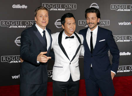 Alan Tudyk, Donnie Yen and Diego Luna at the World premiere of Rogue One: A Star Wars Story held at the Pantages Theatre in Hollywood, USA on December 10, 2016.