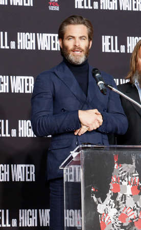 Chris Pine at Jeff Bridges Hand And Footprint Ceremony held at the TCL Chinese Theatre IMAX in Hollywood, USA on January 6, 2017. Editorial