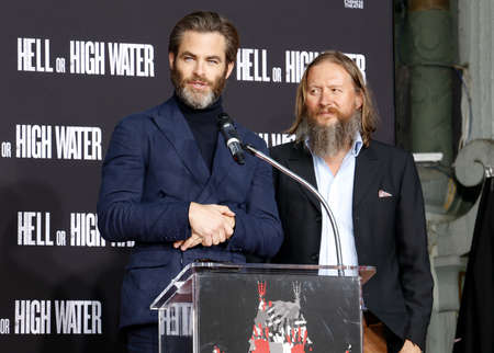 Chris Pine and David Mackenzie at Jeff Bridges Hand And Footprint Ceremony held at the TCL Chinese Theatre IMAX in Hollywood, USA on January 6, 2017. Editorial
