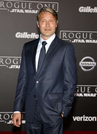 rogue: Mads Mikkelsen at the World premiere of Rogue One: A Star Wars Story held at the Pantages Theatre in Hollywood, USA on December 10, 2016.
