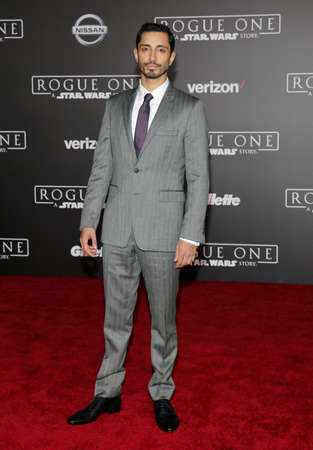 rogue: Riz Ahmed at the World premiere of Rogue One: A Star Wars Story held at the Pantages Theatre in Hollywood, USA on December 10, 2016.