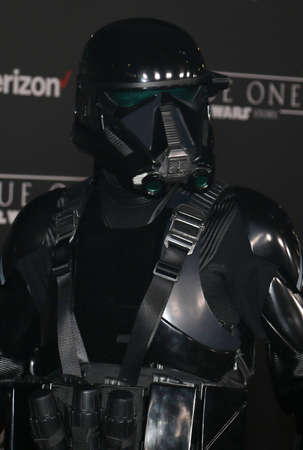 stormtrooper: A blackhole stormtrooper at the World premiere of 'Rogue One: A Star Wars Story' held at the Pantages Theatre in Hollywood, USA on December 10, 2016. Editorial