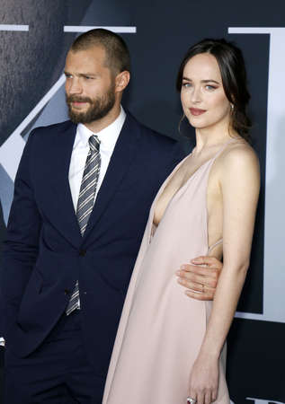 Jamie Dornan and Dakota Johnson at the Los Angeles premiere of Fifty Shades Darker held at the Theatre at Ace Hotel in Los Angeles, USA on February 2, 2017.