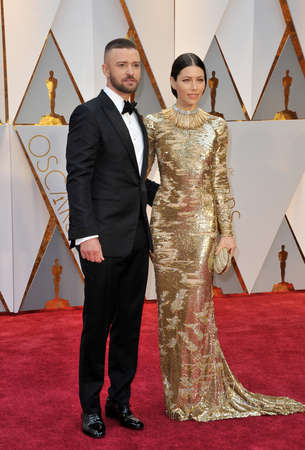 Justin Timberlake and Jessica Biel at the 89th Annual Academy Awards held at the Hollywood and Highland Center in Hollywood, USA on February 26, 2017.