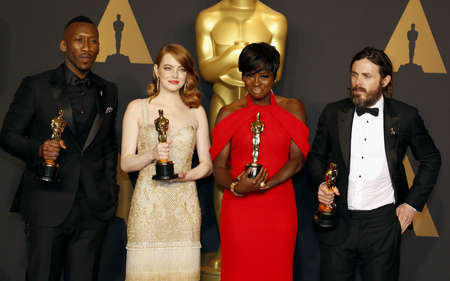 Viola Davis, Casey Affleck, Mahershala Ali and Emma Stone at the 89th Annual Academy Awards - Press Room held at the Hollywood and Highland Center in Hollywood, USA on February 26, 2017. Editorial