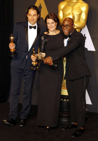 Jeremy Kleiner, Adele Romanski and Barry Jenkins at the 89th Annual Academy Awards - Press Room held at the Hollywood and Highland Center in Hollywood, USA on February 26, 2017. Editorial