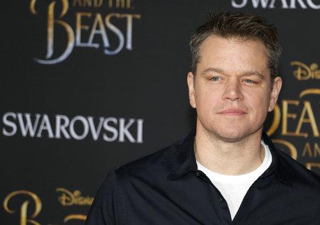 Matt Damon bij de première van Los Angeles van 'Beauty And The Beast' die op 2 maart 2017 in het El Capitan Theatre in Hollywood, VS werd gehouden.