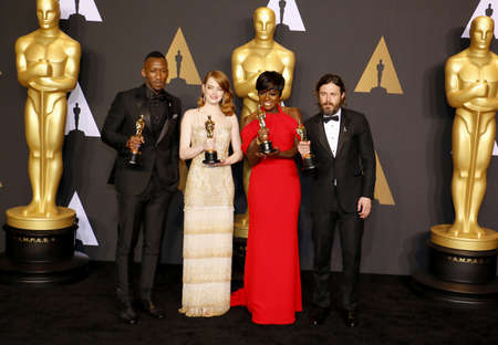 oscars: Viola Davis, Casey Affleck, Mahershala Ali and Emma Stone at the 89th Annual Academy Awards - Press Room held at the Hollywood and Highland Center in Hollywood, USA on February 26, 2017. Editorial