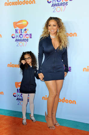Mariah Carey and Monroe Cannon at the Nickelodeons 2017 Kids Choice Awards held at the USC Galen Center in Los Angeles, USA on March 11, 2017.