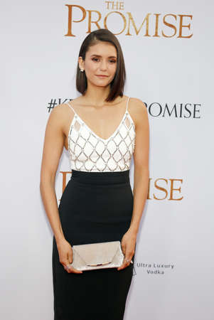 Nina Dobrev at the Los Angeles premiere of The Promise held at the TCL Chinese Theatre in Hollywood, USA on April 12, 2017. Editorial