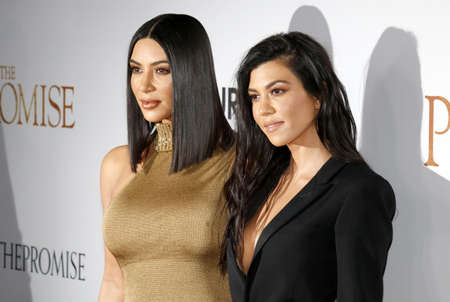 Kim Kardashian West and Kourtney Kardashian at the Los Angeles premiere of The Promise held at the TCL Chinese Theatre in Hollywood, USA on April 12, 2017. Editorial