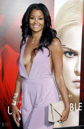Claudia Jordan at the Los Angeles premiere of 'Unforgettable' held at the TCL Chinese Theatre in Hollywood, USA on April 18, 2017. 報道画像