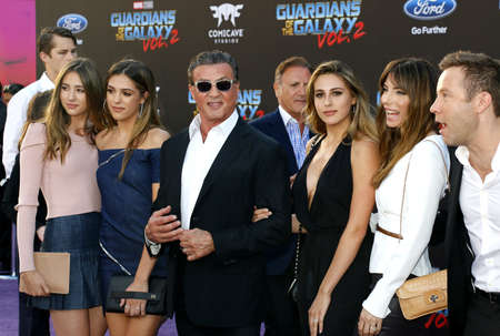 Frank Stallone, Sylvester Stallone, Scarlet Rose Stallone, Sistine Rose Stallone, Sophia Rose Stallone, Jennifer Flavin and Michael Rosenbaum at the Los Angeles premiere of Guardians Of The Galaxy Vol. 2 held at the Dolby Theatre in Hollywood, USA on Ap