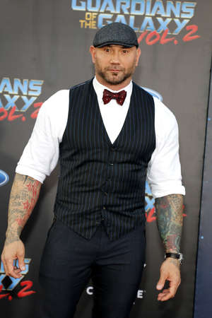 dolby: Dave Bautista at the Los Angeles premiere of Guardians Of The Galaxy Vol. 2 held at the Dolby Theatre in Hollywood, USA on April 19, 2017.