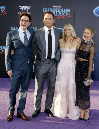 holland: James Gunn, Chris Pratt, Anna Faris and Jennifer Holland at the Los Angeles premiere of Guardians Of The Galaxy Vol. 2 held at the Dolby Theatre in Hollywood, USA on April 19, 2017.