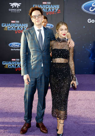 James Gunn, Chris Pratt and Jennifer Holland at the Los Angeles premiere of Guardians Of The Galaxy Vol. 2 held at the Dolby Theatre in Hollywood, USA on April 19, 2017. Editorial