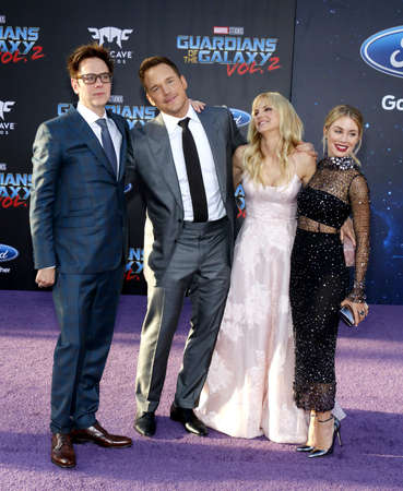 dolby: James Gunn, Chris Pratt, Anna Faris and Jennifer Holland at the Los Angeles premiere of Guardians Of The Galaxy Vol. 2 held at the Dolby Theatre in Hollywood, USA on April 19, 2017.
