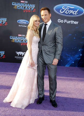 dolby: Anna Faris and Chris Pratt at the Los Angeles premiere of Guardians Of The Galaxy Vol. 2 held at the Dolby Theatre in Hollywood, USA on April 19, 2017. Editorial