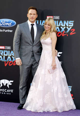 Anna Faris and Chris Pratt at the Los Angeles premiere of Guardians Of The Galaxy Vol. 2 held at the Dolby Theatre in Hollywood, USA on April 19, 2017. Editorial