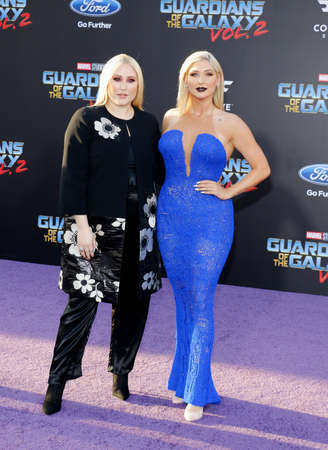 dolby: Hayley Hasselhoff and Taylor Ann Hasselhoff at the Los Angeles premiere of Guardians Of The Galaxy Vol. 2 held at the Dolby Theatre in Hollywood, USA on April 19, 2017.