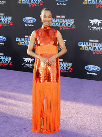 dolby: Zoe Saldana at the Los Angeles premiere of Guardians Of The Galaxy Vol. 2 held at the Dolby Theatre in Hollywood, USA on April 19, 2017.