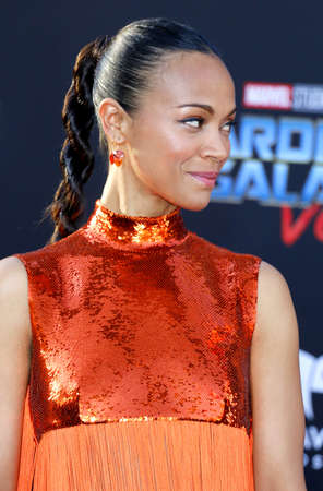 Zoe Saldana at the Los Angeles premiere of Guardians Of The Galaxy Vol. 2 held at the Dolby Theatre in Hollywood, USA on April 19, 2017.