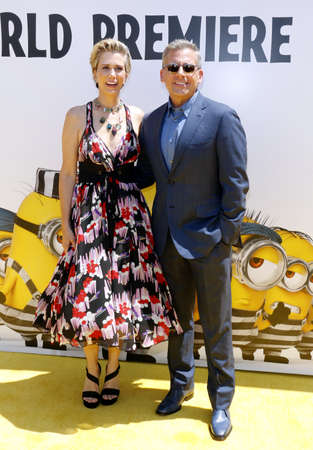 Kristen Wiig and Steve Carell at the World premiere of Despicable Me 3 held at the Shrine Auditorium in Los Angeles, USA on June 24, 2017. Editorial