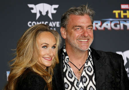 Ray Stevenson and Elisabetta Caraccia at the World premiere of Thor: Ragnarok held at the El Capitan Theatre in Hollywood, USA on October 10, 2017.