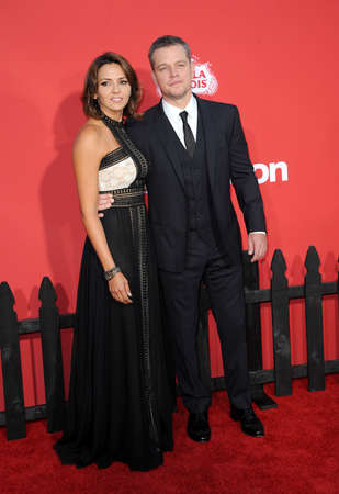 Matt Damon and Luciana Barroso at the Los Angeles premiere of Suburbicon held at the Regency Village Theatre in Westwood, USA on October 22, 2017.