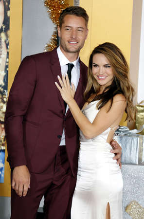 Chrishell Stause and Justin Hartley at the Los Angeles premiere of A Bad Moms Christmas held at the Regency Village Theatre in Westwood, USA on October 30, 2017.