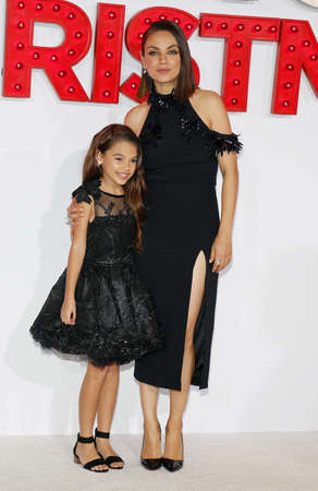 Mila Kunis and Ariana Greenblatt at the Los Angeles premiere of A Bad Moms Christmas held at the Regency Village Theatre in Westwood, USA on October 30, 2017. Editorial