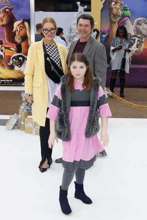 Lou Diamond Phillips, Yvonne Boismier Phillips and Indigo Sanara Phillips at the Los Angeles premiere of The Star held at the Regency Village Theatre in Westwood, USA on November 12, 2017.