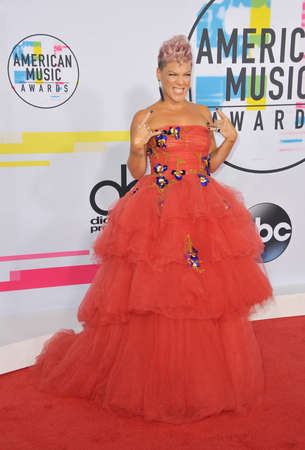 Pink at the 2017 American Music Awards held at the Microsoft Theater in Los Angeles, USA on November 19, 2017. Editorial