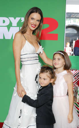 Alessandra Ambrosio, Noah Ambrosio Mazur and Anja Ambrosio Mazur at the Los Angeles premiere of Daddys Home 2 held at the Regency Village Theatre in Westwood, USA on November 5, 2017.