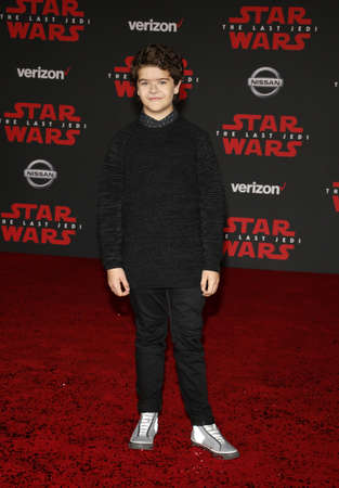 Gaten Matarazzo at the World premiere of Star Wars: The Last Jedi held at the Shrine Auditorium in Los Angeles, USA on December 9, 2017. Editorial