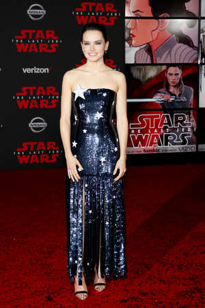Daisy Ridley at the World premiere of Star Wars: The Last Jedi held at the Shrine Auditorium in Los Angeles, USA on December 9, 2017.
