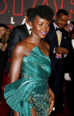Lupita Nyongo at the World premiere of Star Wars: The Last Jedi held at the Shrine Auditorium in Los Angeles, USA on December 9, 2017.
