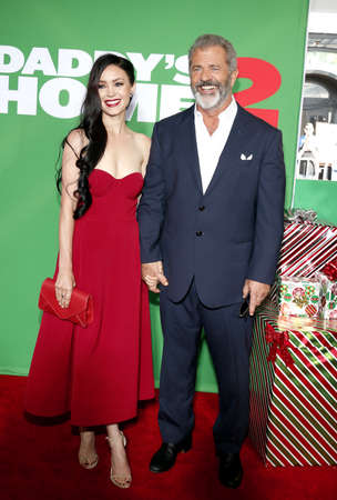 Mel Gibson and Rosalind Ross at the Los Angeles premiere of Daddys Home 2 held at the Regency Village Theatre in Westwood, USA on November 5, 2017.