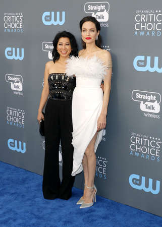 Loung Ung and Angelina Jolie at the 23rd Annual Critics' Choice Awards held at the Barker Hangar in Santa Monica, USA on January 11, 2018. 報道画像