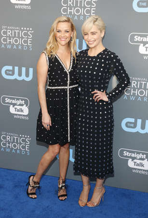 Reese Witherspoon and Emilia Clarke at the 23rd Annual Critics Choice Awards held at the Barker Hangar in Santa Monica, USA on January 11, 2018.
